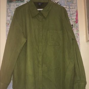 Vintage suede look hunter green button up